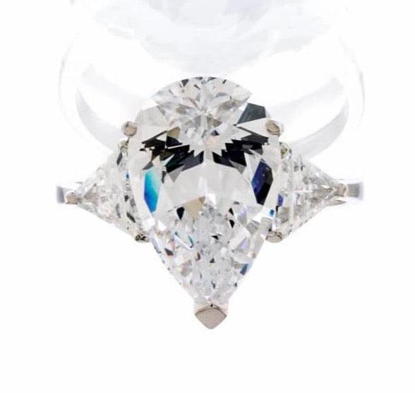 cubic zirconia | pear cut triangle accent ring image | Boutique CZ