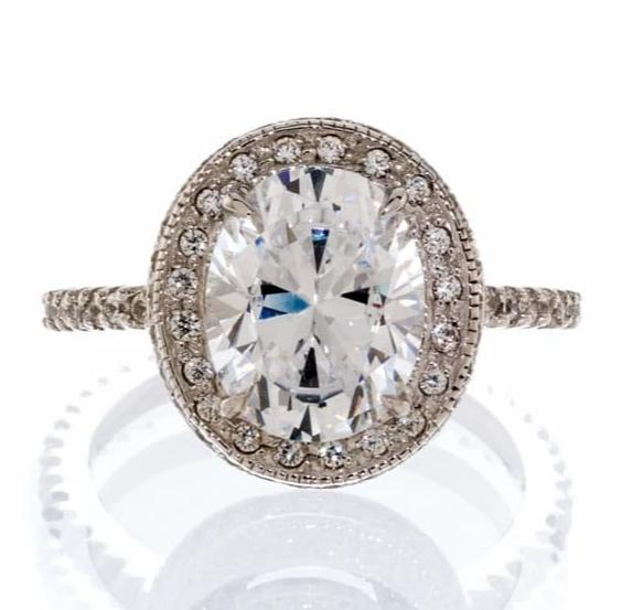 Cubic Zirconia | Oval Halo Engagement Ring Images | Boutique CZ