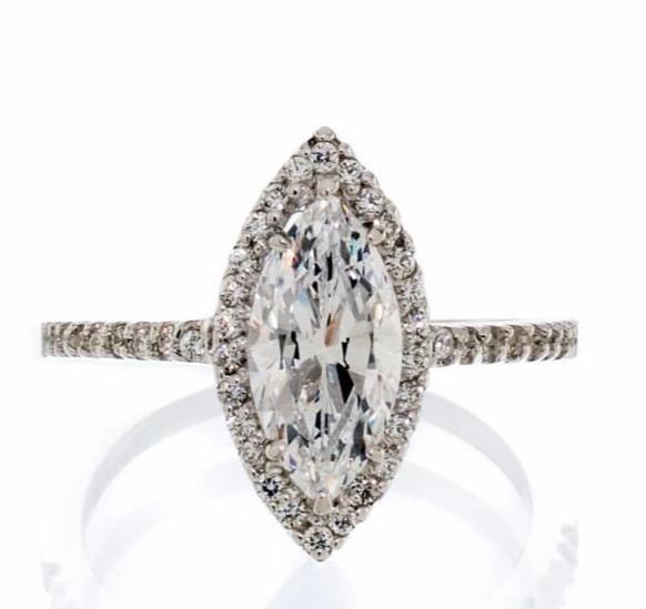 cubic zirconia | marquis cut halo engagement ring image | Boutique CZ