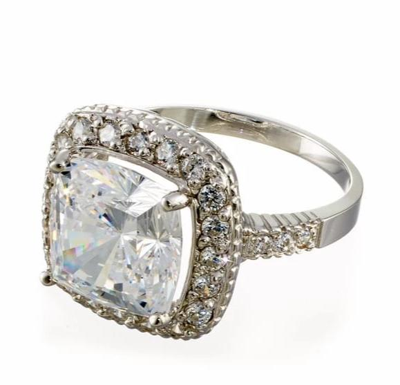 cubic zirconia | cushion cut halo engagement ring | Boutique CZ