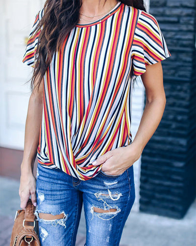 Round Neck Striped Short Sleeve T-Shirt