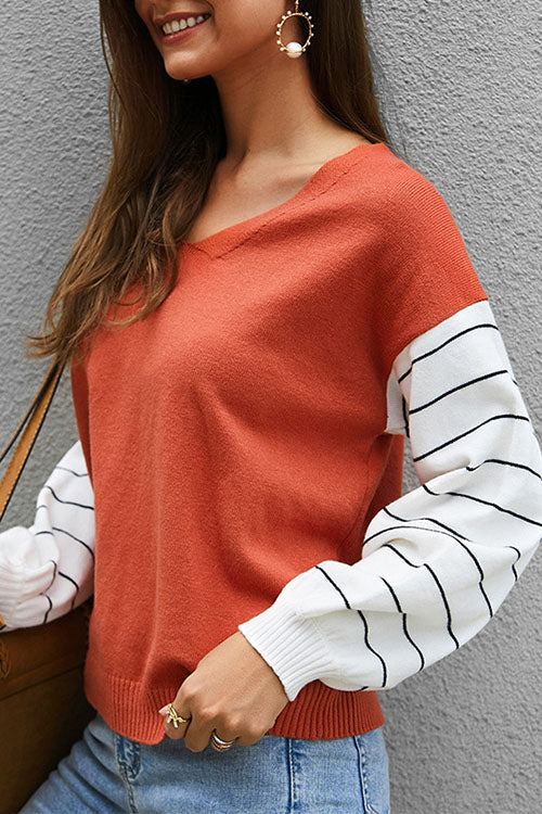 Weststylish V-Neck Long Sleeve Contrast Sweater