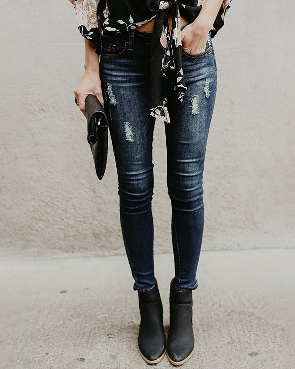 Weststylish High Waist Ripped Denim Jeans Pants
