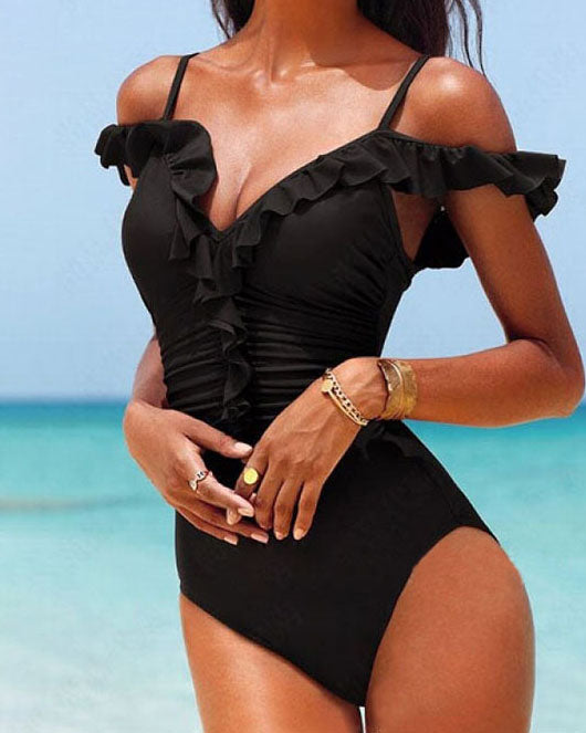 Weststylish Black Ruched One Piece Swimwear