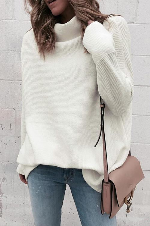Weststylish Casual Turtleneck White Sweaters
