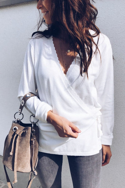 Weststylish Wavy Edge Waist Lace Leisure White Shirt