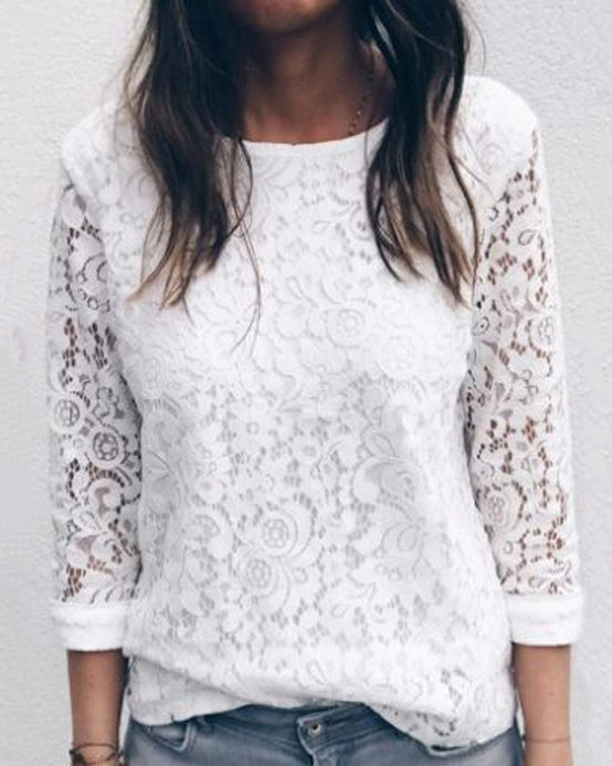 Weststylish Solid Color Round Neck Lace Long Sleeve Top