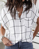 Weststylish Bat Sleeve Loose Short Sleeve Plaid Shirt