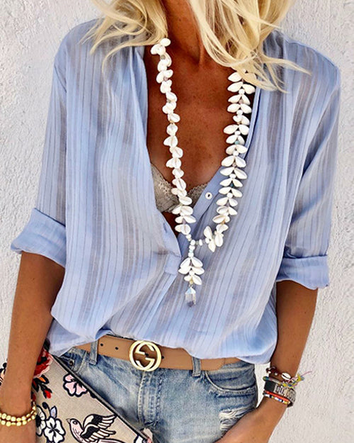 Weststylish Sexy V-neck Long-Lleeved Button-Down Shirt