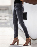 Weststylish Vintage Hole Skinny Grey Jeans