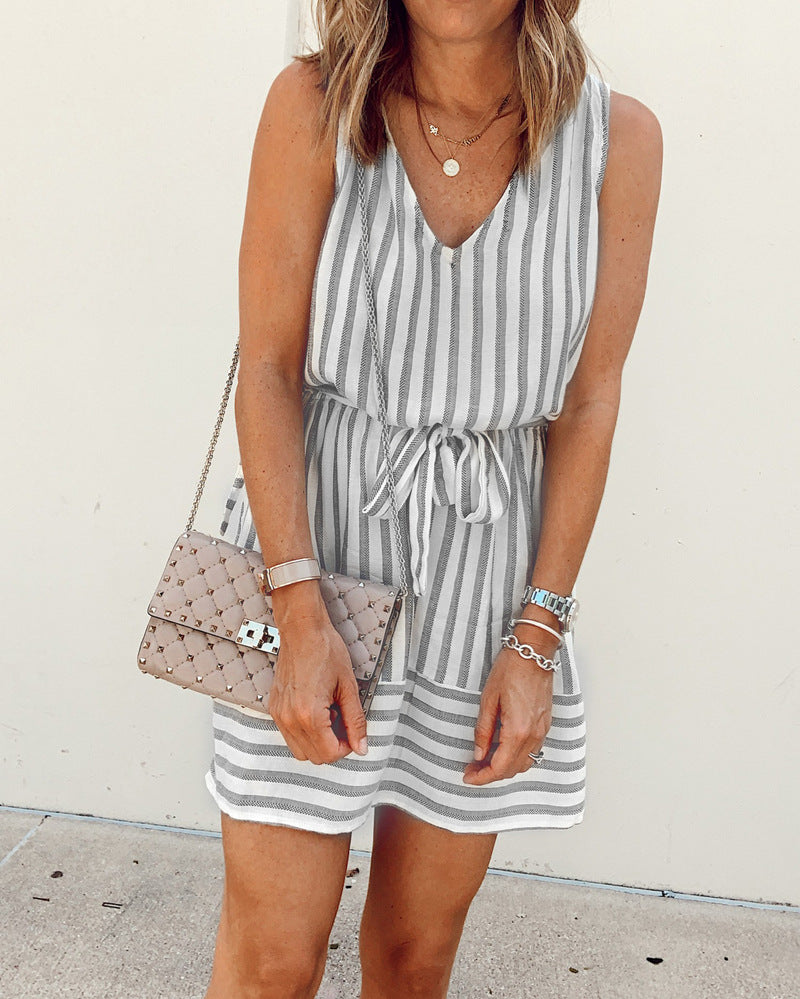 Weststylish Striped V-neck belt dress