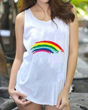 Weststylish Round Neck Loose Vest Rainbow T-Shirt