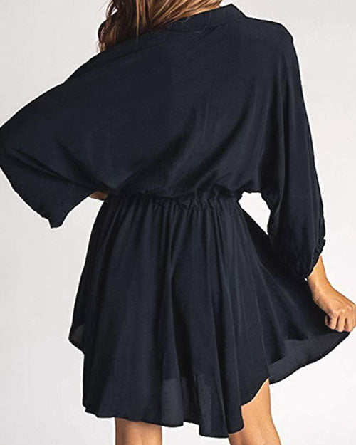Weststylish Lantern Long-Sleeved Waist Solid Color Dress