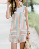 Weststylish Casual Striped Loose Multicolor Blending Rompers