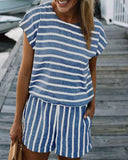 Weststylish Casual Striped Drawstring Rompers