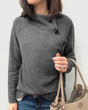 Weststylish Round Neck Button Long Sleeve Hoodie