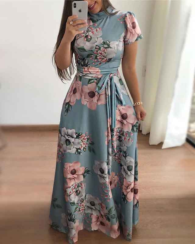 Sexy Waist Tie Print Dress (3 Colors)