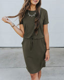 Weststylish Casual Drawstring Tunic Dress