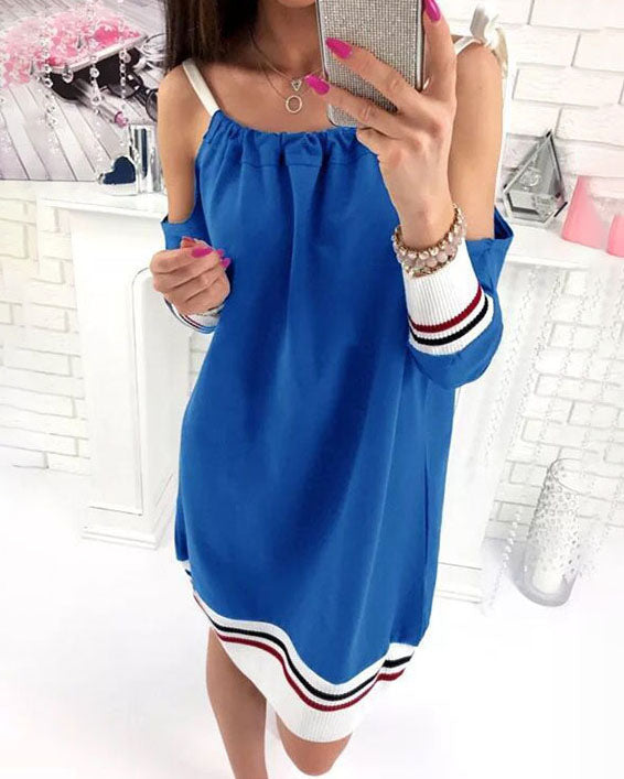 Weststylish Casual Sling  Stitching Sleeve Dress(3Colors)