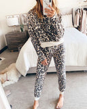Weststylish Leopard Printed Apricot Two-piece Pants Set