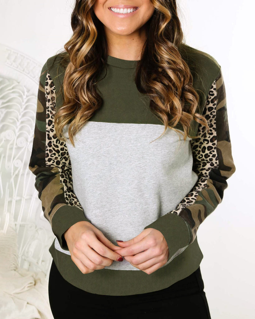 Weststylish Leopard Colorblock Camouflage Sweater