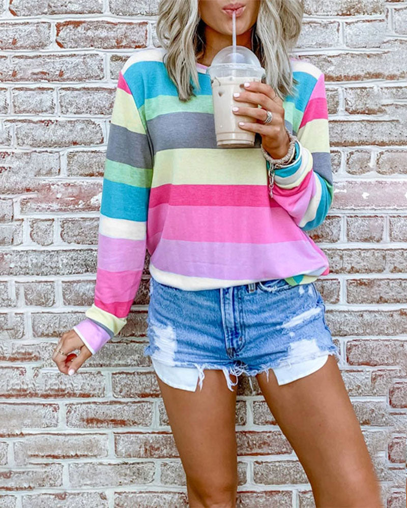 Weststylish Rainbow Striped Multicolor Sweatshirt