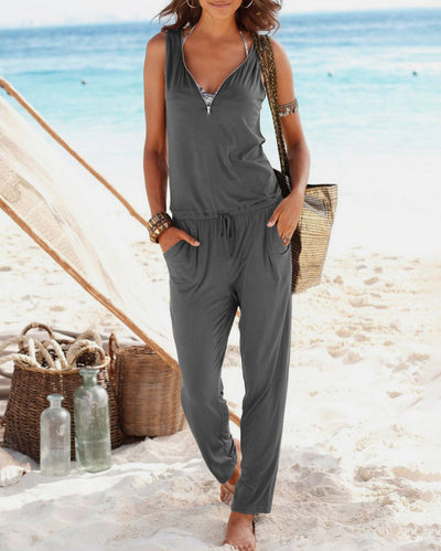 V-Neck Loose Zip Jumpsuit