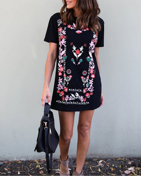 Stylish Valentine's Day Print Mini Dress