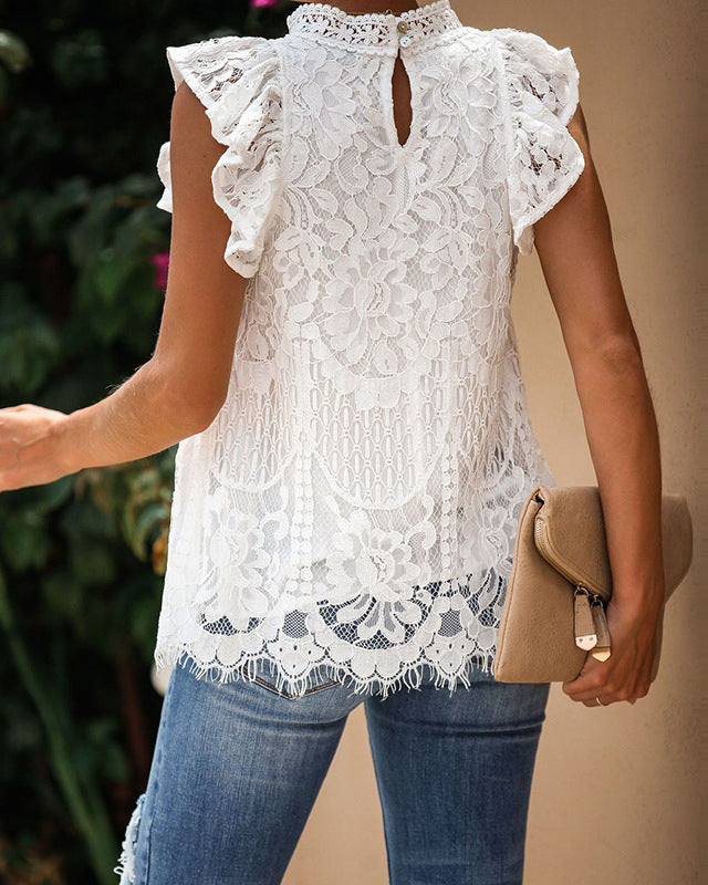 Lace-Paneled Half-High Collar Blouse