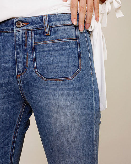Weststylish Medium High Elastic Slim Sling Flare Jeans