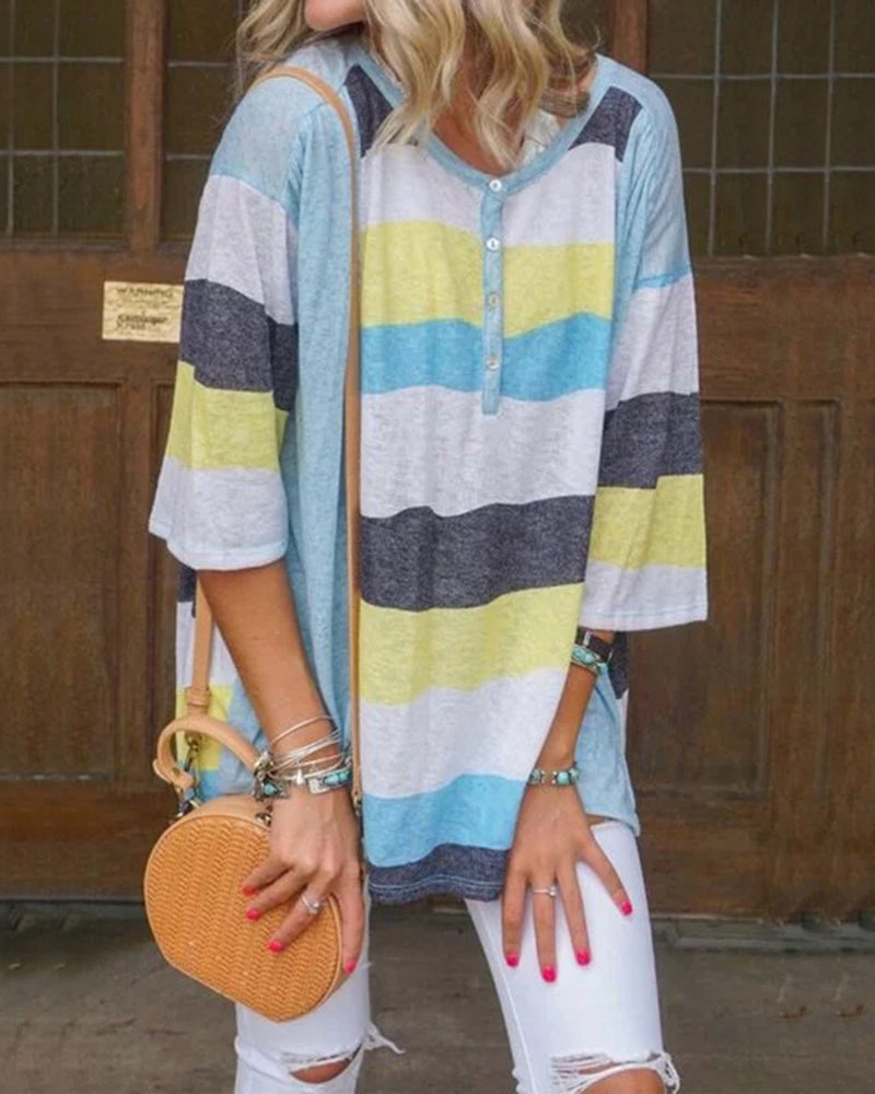 Weststylish Striped Loose Casual Round Neck Sleeve T-shirt