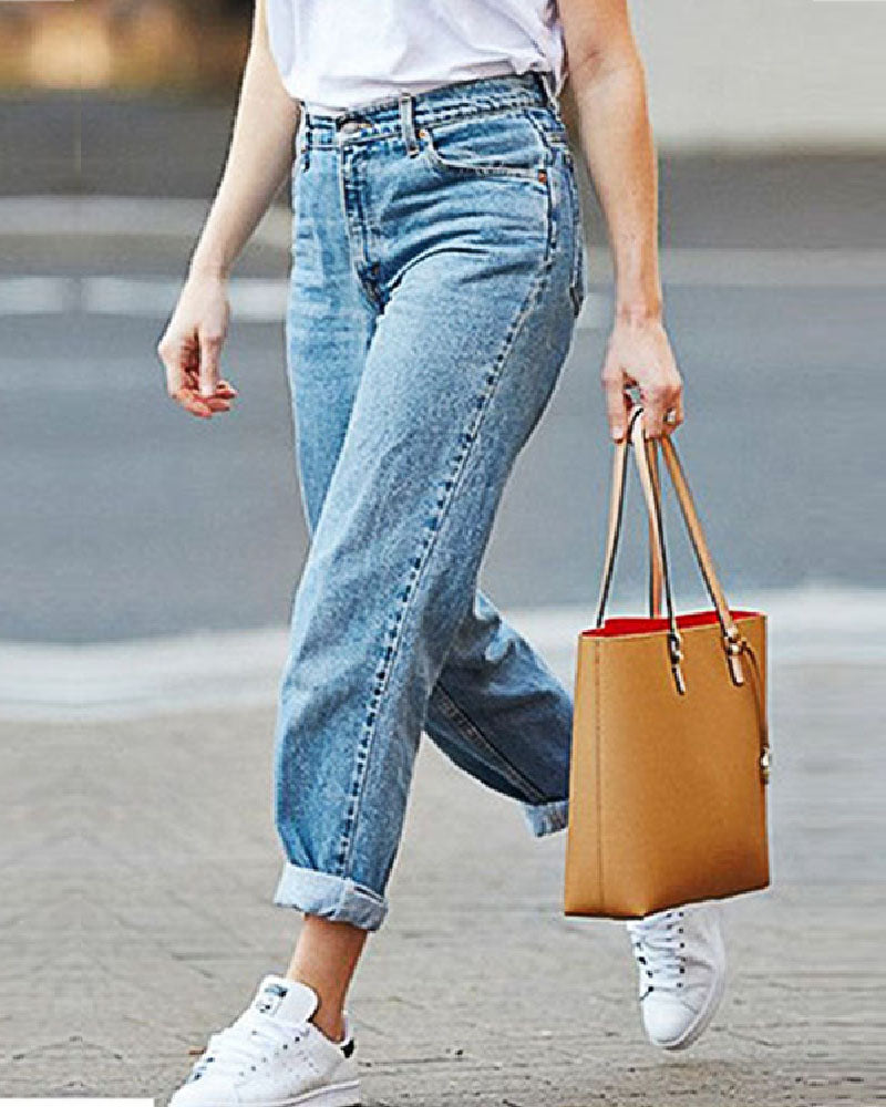 Weststylish Loose Large Size Denim Straight Pants