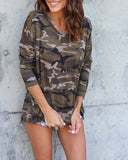 Weststylish Round Neck Camouflage Short Short Sleeve T-shirt