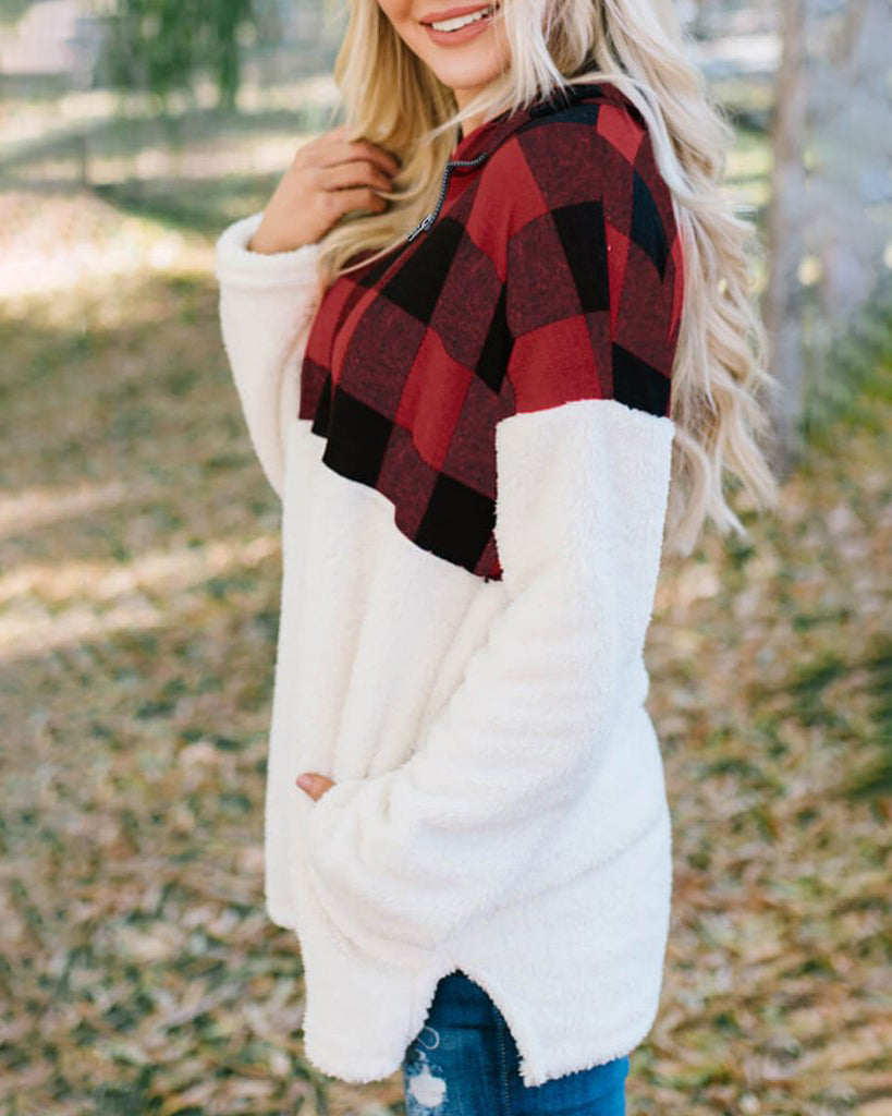 Weststylish Plaid Printed Red Sweatshirt Hoodie