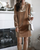 Weststylish Round Neck Lantern Sleeve Gold Vvelvet Dress