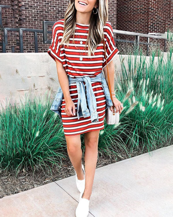 Weststylish Round Neck Striped Casual Dress