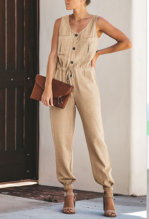 Weststylish Round Neck Open Sleeveless Jumpsuit - M / Khaki