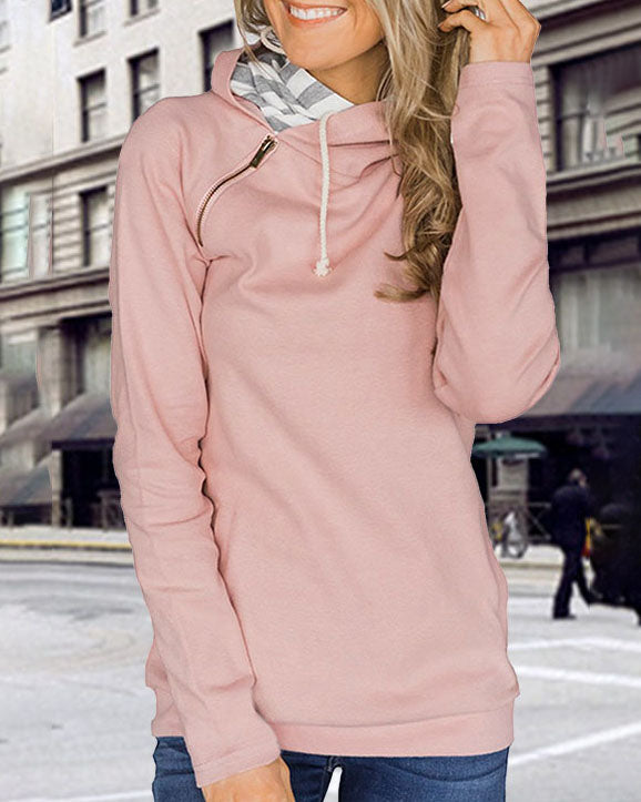 Weststylish Solid Color Zipper Drawstring Hooded Hoodie