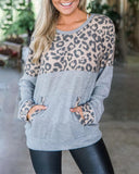 Weststylish Colorblock Pocket Leopard Sweatshirt