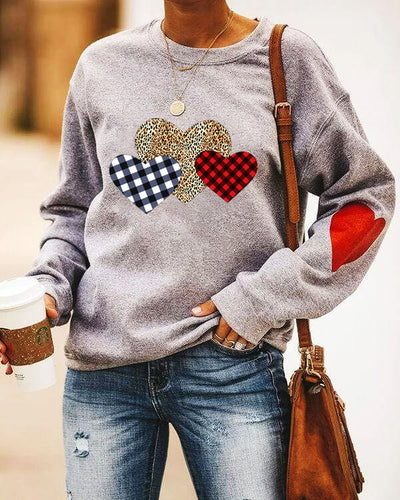 Valentine's Day Casual Round Neck Stitching Long Sleeve Plaid Leopard Print Swea