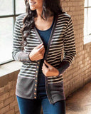 Weststylish Long Single-Row Button Knitted Jacket With Stripe Stitching