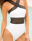 Weststylish Sexy Women's Splice Elastic Band Halter Monokini Swimsuit Jumpsuit Bathing Suit Beachwear