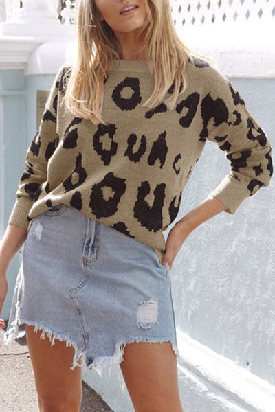 Weststylish Round Neck Pullover Leopard Sweater(4 Colors)