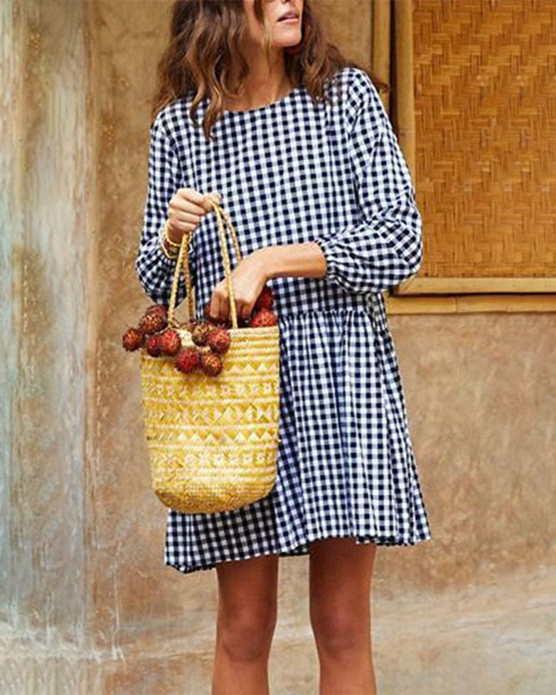 Weststylish O Neck Large Plaid Cotton And Linen Dress