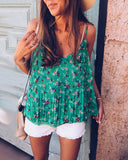 Weststylish V-Neck Floral Pleated Camisole