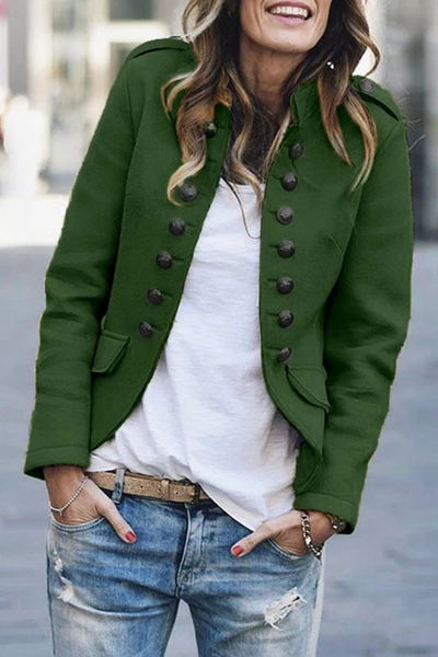 Weststylish Buttons Design Army Green Coat (3 Colors)