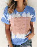 Weststylish Round Neck Tie Dyeing Short Sleeve T-Shirt