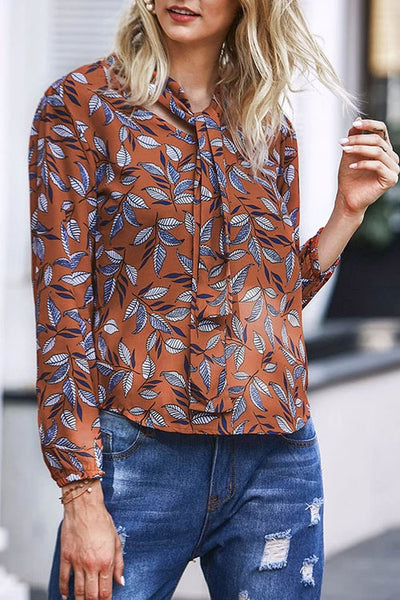 Weststylish Plants Print Blouse