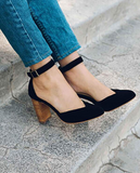Pointed Toe Buckle With Heels (2 Colors)