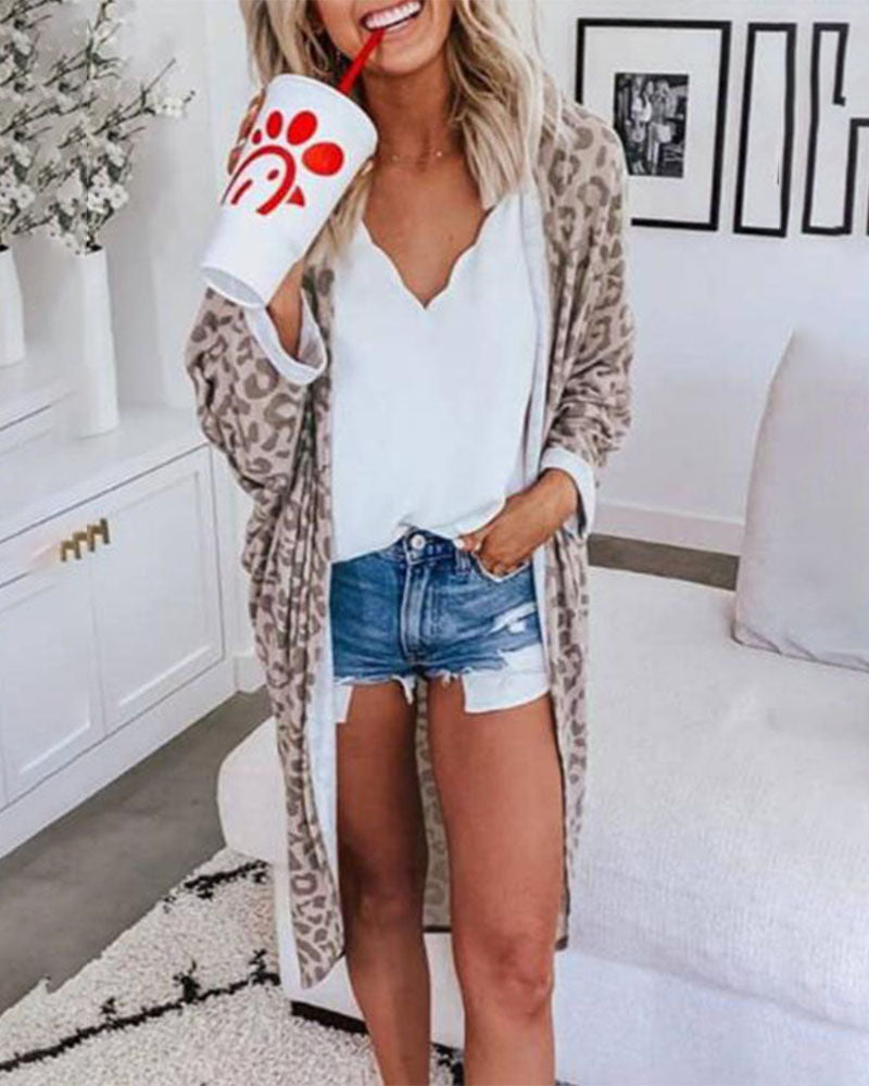 Weststylish Long Leopard Cardigan Casual coat